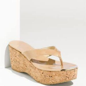 Jimmy Choo Pathos Patent Leather Cork Sandals